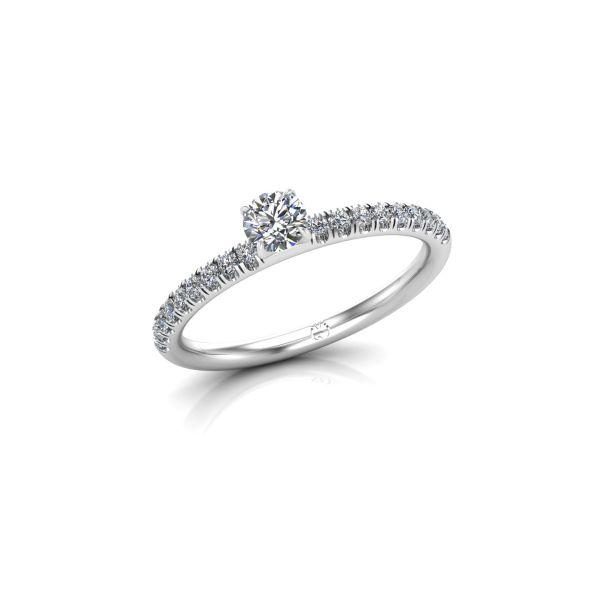 Verlobungsring mit seitlichem Steinbesatz und vier Krappenfassung