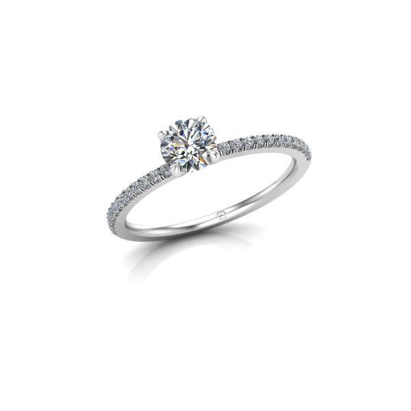 Verlobungsring mit seitlichem Steinbesatz und vier Krappenfassung | Preis für Leerfassung