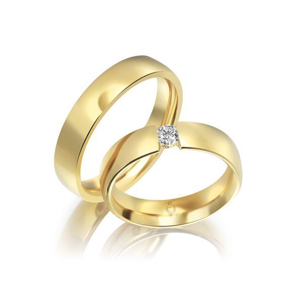 Trauringe/Eheringe einfarbig in Gold oder Platin mit 0.17 ct. Brillant von Trauringspezialisten.de Modell TS1111