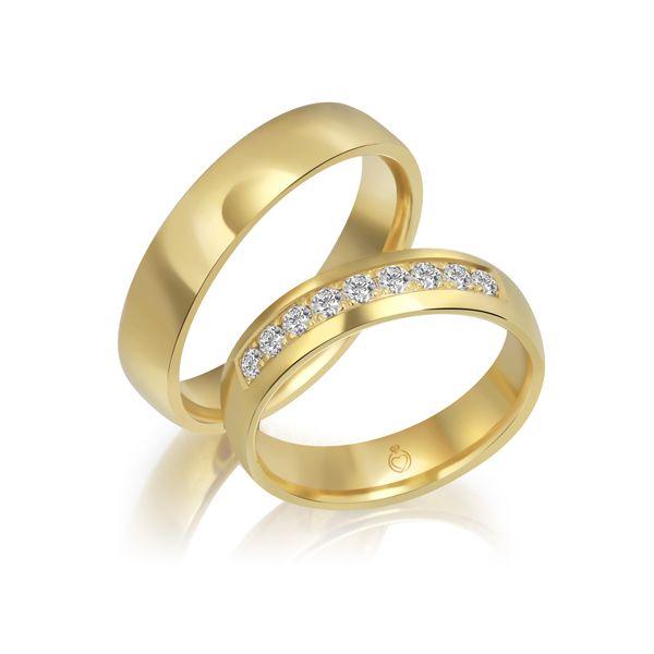 Paar Trauringe/Eheringe einfarbig Gold oder Platin mit 0.36ct Brillanten von Trauringspezialisten Modell TS1112