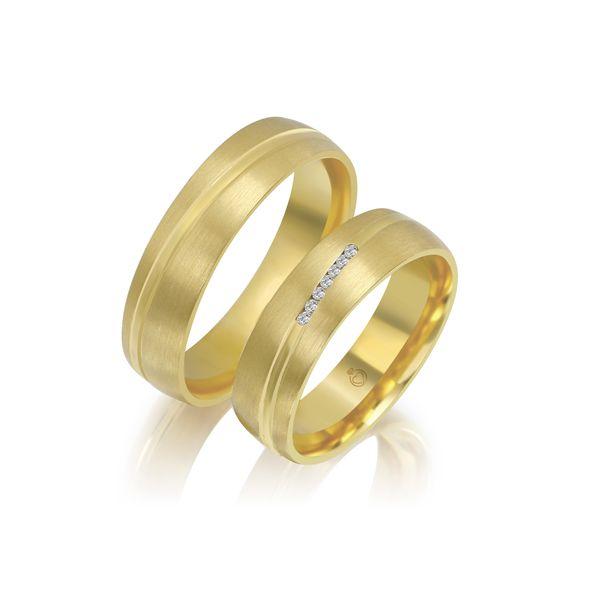 Paar Trauringe/Eheringe einfarbig Gold oder Platin mit 0.035ct Brillanten von Trauringspezialisten Modell TS1135