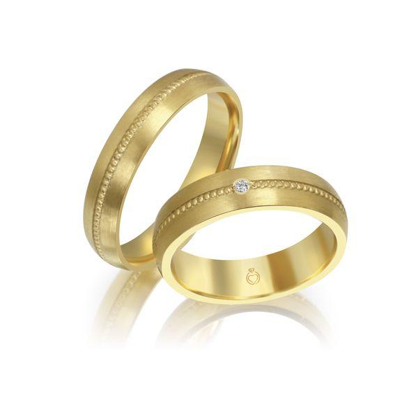 Paar Trauringe/Eheringe einfarbig Gold oder Platin mit 0.35ct Brillanten von Trauringspezialisten Modell TS1136