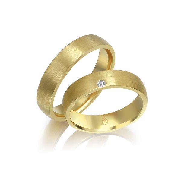 Paar Trauringe/Eheringe einfarbig Gold oder Platin mit 0.04ct Brillanten von Trauringspezialisten Modell TS1137