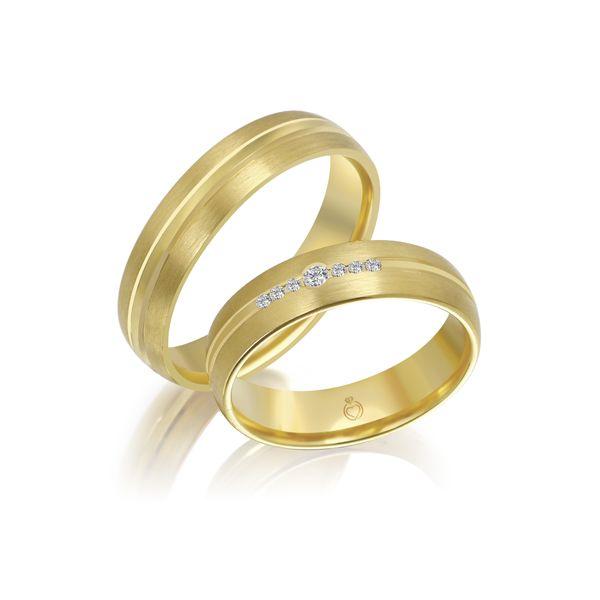 Paar Trauringe/Eheringe einfarbig Gold oder Platin mit 0.05ct Brillanten von Trauringspezialisten Modell TS1138