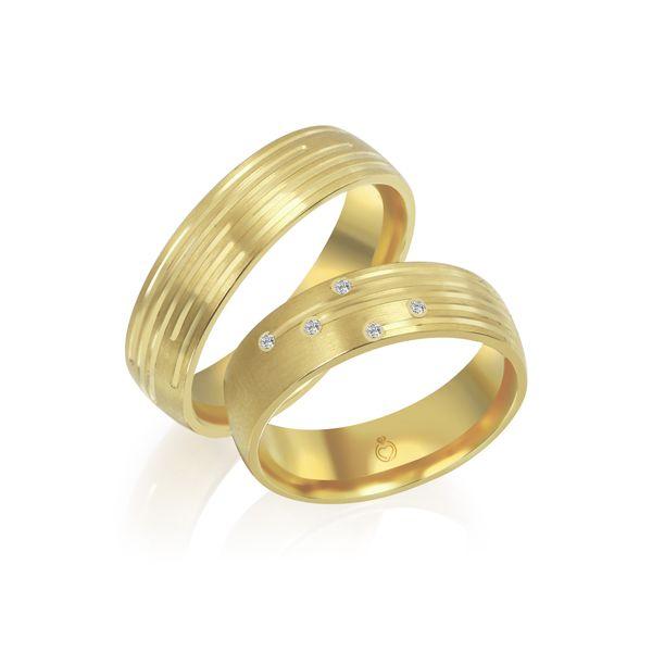 Paar Trauringe/Eheringe einfarbig Gold oder Platin mit 0.05ct Brillanten von Trauringspezialisten Modell TS1139