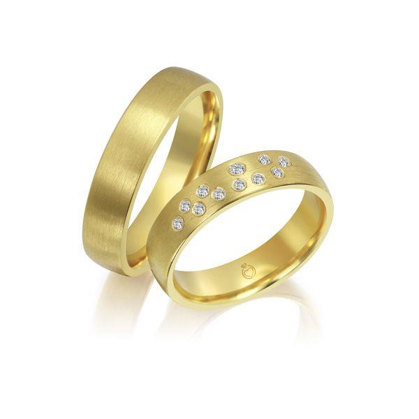 Paar Trauringe/Eheringe einfarbig Gold oder Platin mit 0.115ct Brillanten von Trauringspezialisten Modell TS1140