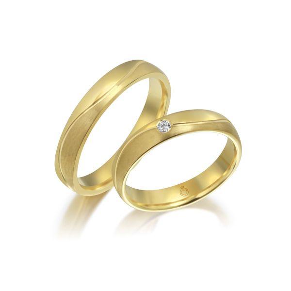 Paar Trauringe/Eheringe einfarbig Gold oder Platin mit 0.04ct Brillanten von Trauringspezialisten Modell TS1145