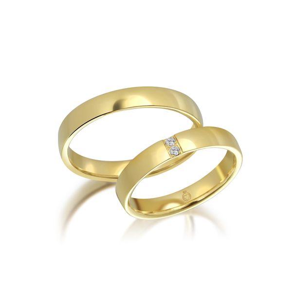 Paar Trauringe/Eheringe einfarbig Gold oder Platin mit 0.03ct Brillanten von Trauringspezialisten Modell TS1146