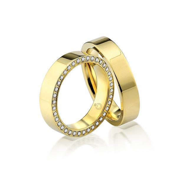 Paar Trauringe/Eheringe einfarbig in Gold oder Platin mit 0.38ct Brillant von Trauringspezialisten.de Modell TS9225