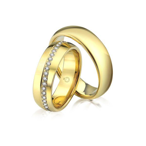 Paar Trauringe/Eheringe einfarbig in Gold oder Platin mit 0.44ct Brillant von Trauringspezialisten.de Modell TS9228
