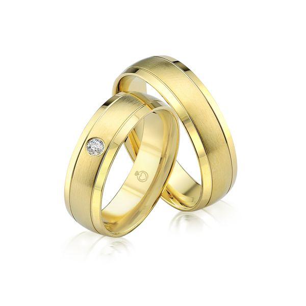 Paar Trauringe/Eheringe einfarbig in Gold oder Platin mit 0.05ct Brillant von Trauringspezialisten.de Modell TS9229