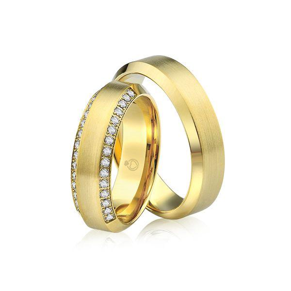 Paar Trauringe/Eheringe einfarbig in Gold oder Platin mit 0.30ct Brillant von Trauringspezialisten.de Modell TS9231