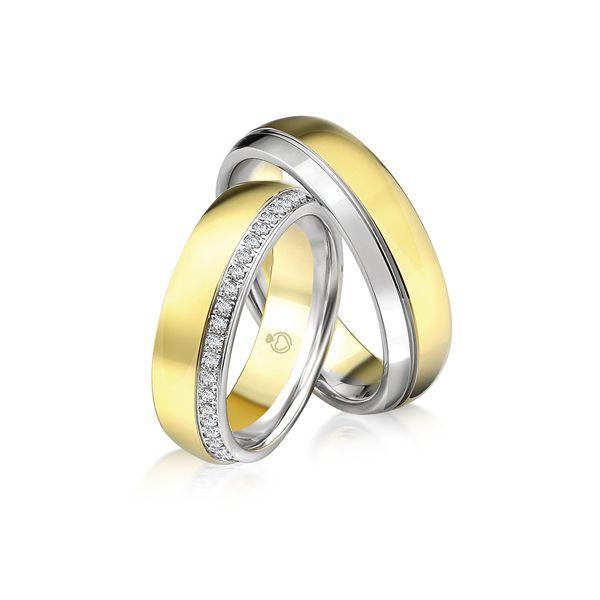 Trauring | Brillanten | 0,47 ct Gelbgold 375/- Weißgold 375/- Gelbgold 375/- Weißgold 375/-