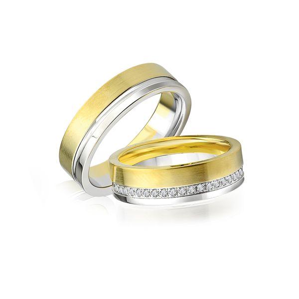Paar Trauringe/Eheringe einfarbig in Gold oder Platin mit 0.45ct Brillant von Trauringspezialisten.de Modell TS9235