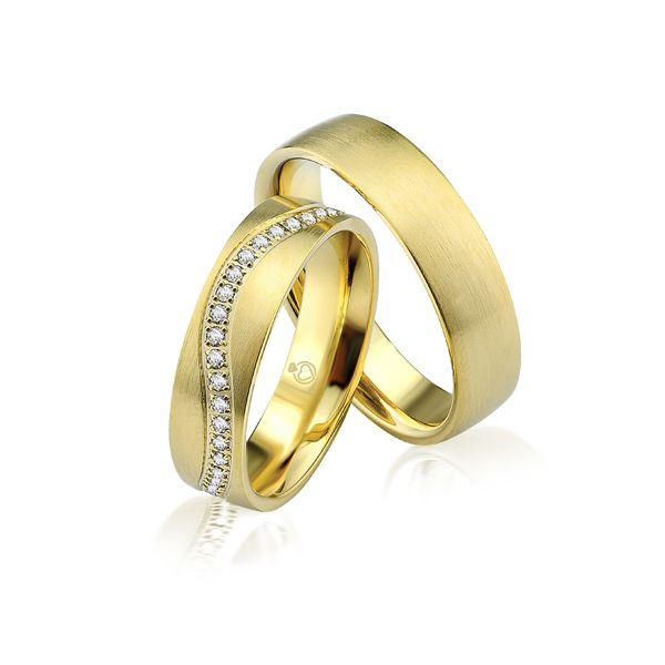 Paar Trauringe/Eheringe einfarbig in Gold oder Platin mit 0.44ct Brillant von Trauringspezialisten.de Modell TS9302