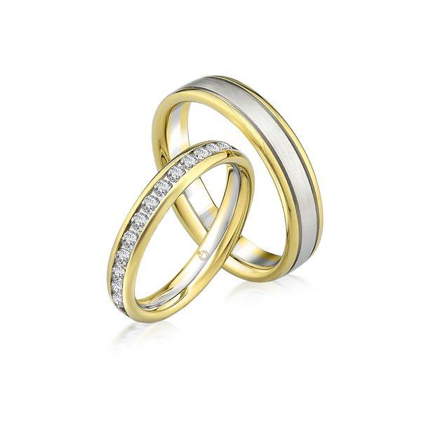 Paar Trauringe/Eheringe einfarbig in Gold oder Platin mit 0.93ct Brillant von Trauringspezialisten.de Modell TS9304