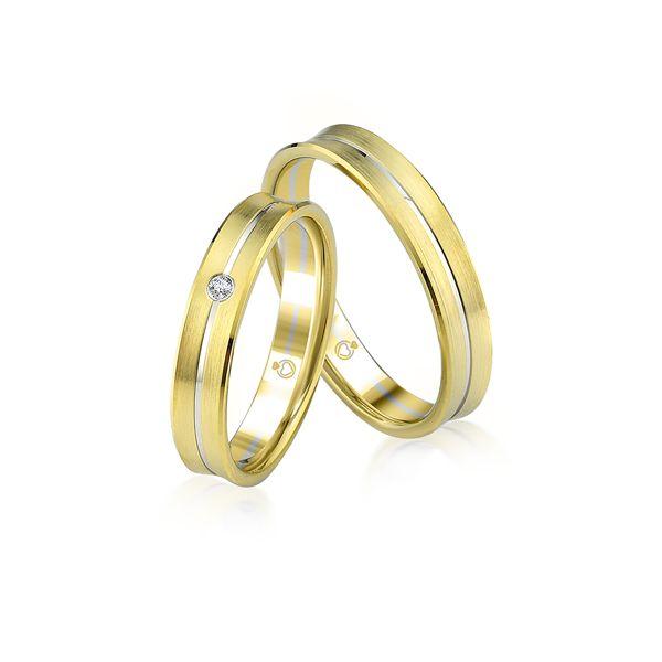 Paar Trauringe/Eheringe bicolor in Gold oder Platin mit 0.02ct Brillant von Trauringspezialisten.de Modell TS9914