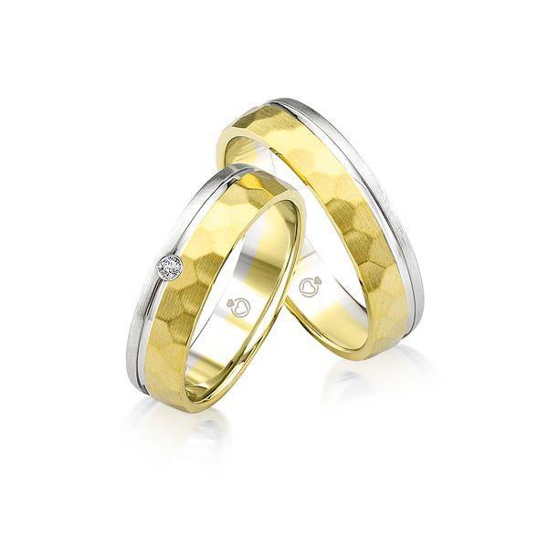 Paar Trauringe/Eheringe bicolor in Gold oder Platin mit 0.03ct Brillant von Trauringspezialisten.de Modell TS9915