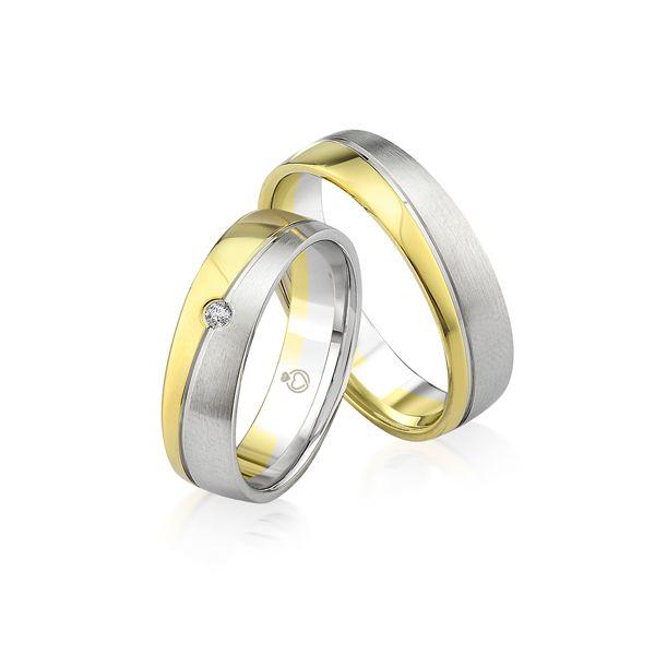 Paar Trauringe/Eheringe bicolor in Gold oder Platin mit 0.03ct Brillant von Trauringspezialisten.de Modell TS9917