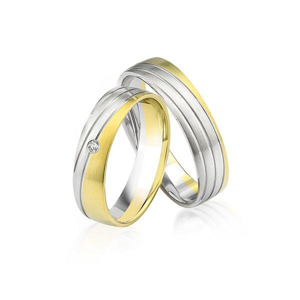 Paar Trauringe/Eheringe bicolor in Gold oder Platin mit 0.02ct Brillant von Trauringspezialisten.de Modell TS9919