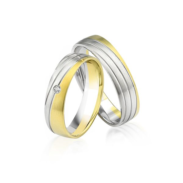 Trauringe | Brillant | 0,02 ct-Weiß/Gelb-Gelbgold 375/- Weißgold 375/-