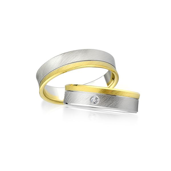 Paar Trauringe/Eheringe bicolor in Gold oder Platin mit 0.06ct Brillant von Trauringspezialisten.de Modell TS9923