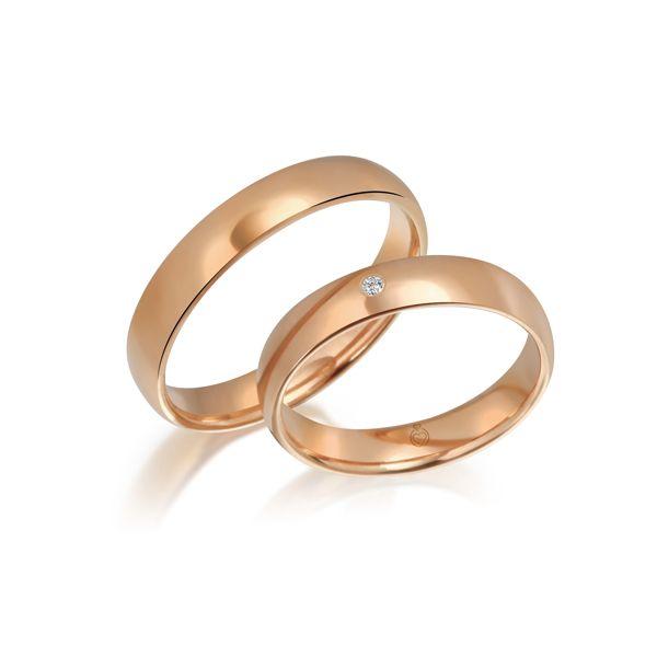 Paar Trauringe/Eheringe einfarbig Gold oder Platin mit 0.02ct Brillanten von Trauringspezialisten Modell TS1147