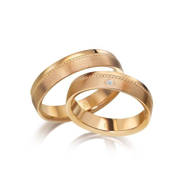 Paar Trauringe/Eheringe einfarbig Gold oder Platin mit 0.01ct Brillant von Trauringspezialisten