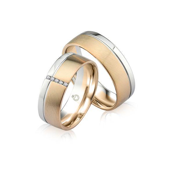 Paar Trauringe/Eheringe bicolor in Gold oder Platin mit 0.15ct Brillant von Trauringspezialisten.de Modell TS9309