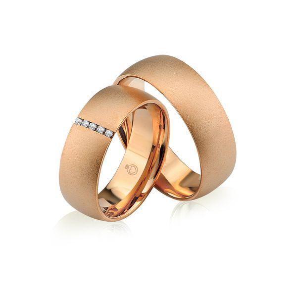 Paar Trauringe/Eheringe einfarbig in Gold oder Platin mit 0.05ct Brillant von Trauringspezialisten.de Modell TS9230