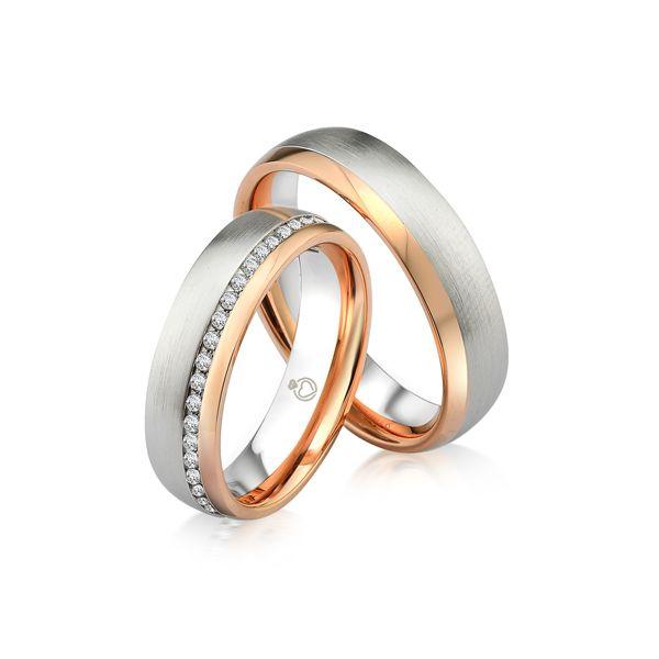 Paar Trauringe/Eheringe einfarbig in Gold oder Platin mit 0.45ct Brillant von Trauringspezialisten.de Modell TS9240