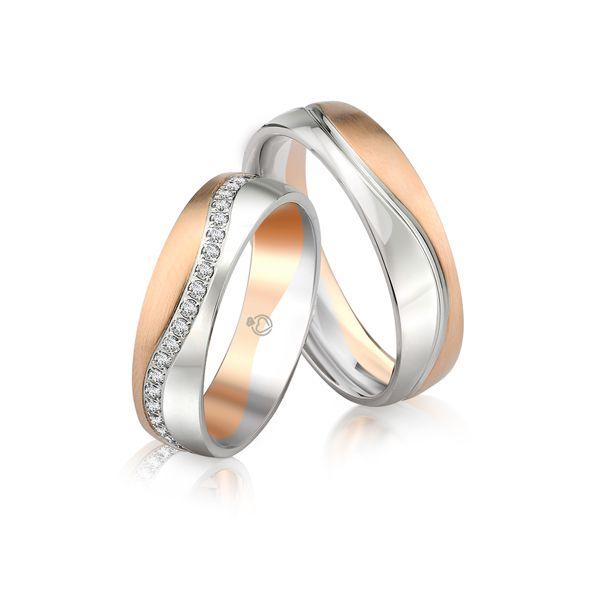 Paar Trauringe/Eheringe einfarbig in Gold oder Platin mit 0.45ct Brillant von Trauringspezialisten.de Modell TS9243