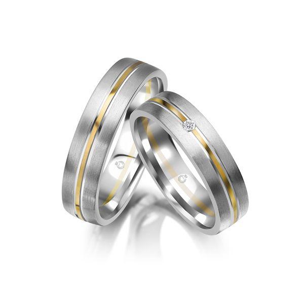 Trauringe | Brillanten | 0,03 ct Gelbgold 375/- Weißgold 375/-