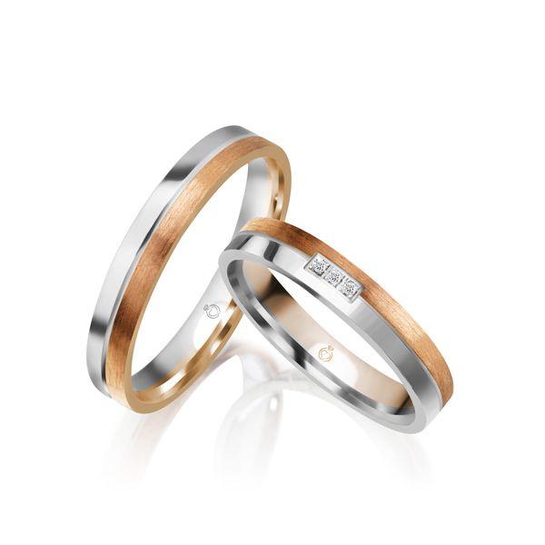 Paar Trauringe/Eheringe mehrfarbig in Gold oder Platin mit 0.015ct Brillant von Trauringspezialisten.de Modell TS1160