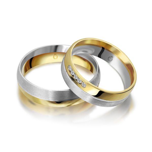 Paar Trauringe/Eheringe bicolor in Gold oder Platin mit 0.075ct Brillant von Trauringspezialisten.de Modell TS1158