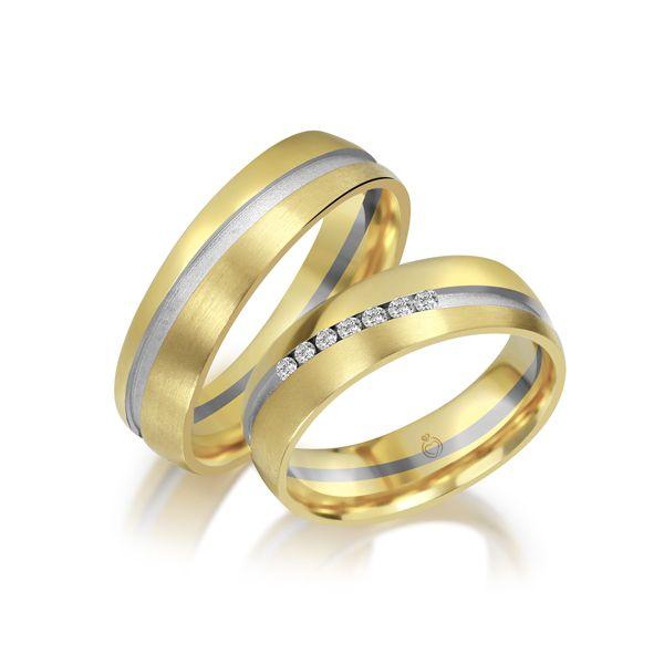 Paar Trauringe/Eheringe bicolor Gold oder Platin mit 0.07ct Brillanten von Trauringspezialisten Modell TS1109