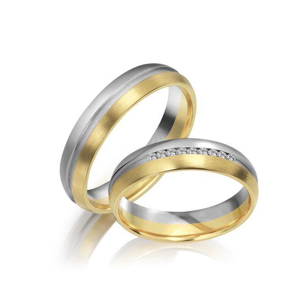 Paar Trauringe/Eheringe mehrfarbig Gold oder Platin mit 0.045ct Brillanten von Trauringspezialisten Modell TS1110