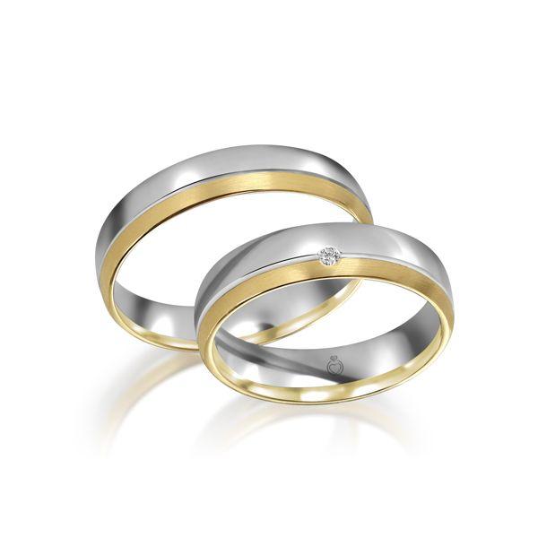 Paar Trauringe/Eheringe einfarbig Gold oder Platin mit 0.02ct Brillant von Trauringspezialisten Modell TS1143