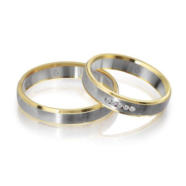 Paar Trauringe/Eheringe bicolor in Gold oder Platin mit 0.04ct Brillant von Trauringspezialisten.de Modell TS1153