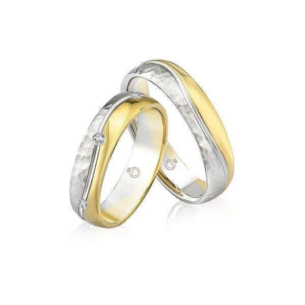 Paar Trauringe/Eheringe bicolor erhältlich in Gold oder Platin mit 0.12ct Brillant von Trauringspezialisten.de Modell TS9306