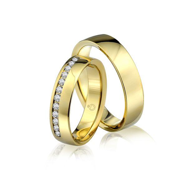 Paar Trauringe/Eheringe einfarbig in Gold oder Platin mit 0.24ct Brillant von Trauringspezialisten.de Modell TS9301