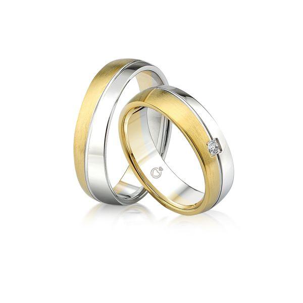 Paar Trauringe/Eheringe einfarbig erhältlich in Gold oder Platin mit 0.03ct Brillant von Trauringspezialisten.de Modell TS9234