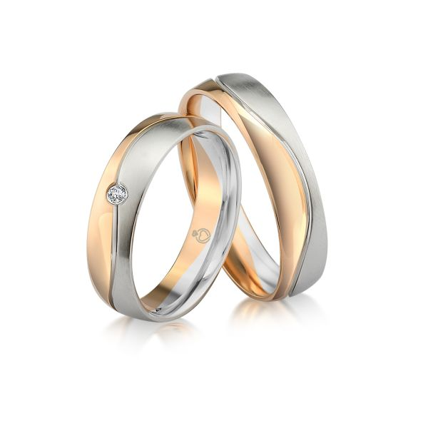 Paar Trauringe/Eheringe bicolor erhältlich in Gold oder Platin mit 0.03ct Brillant von Trauringspezialisten.de Modell TS9239
