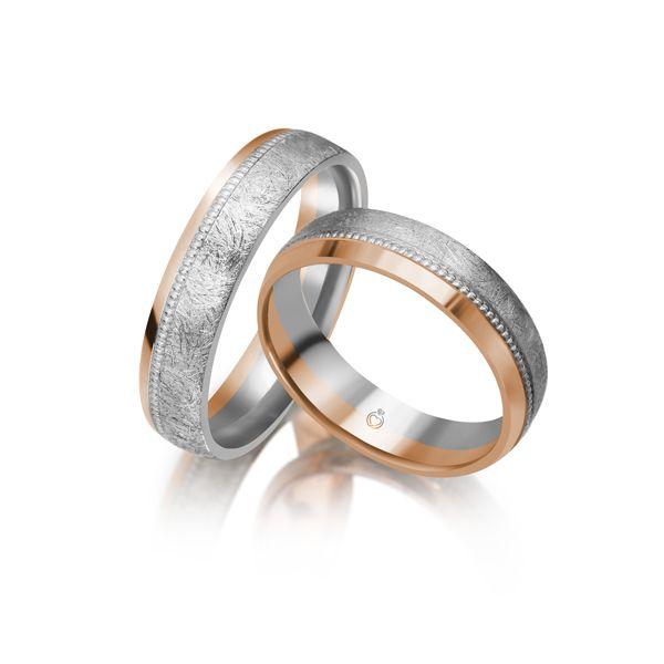 Paar Trauringe/Eheringe mehrfarbig in Gold oder Platin von Trauringspezialisten.de Modell TS1155
